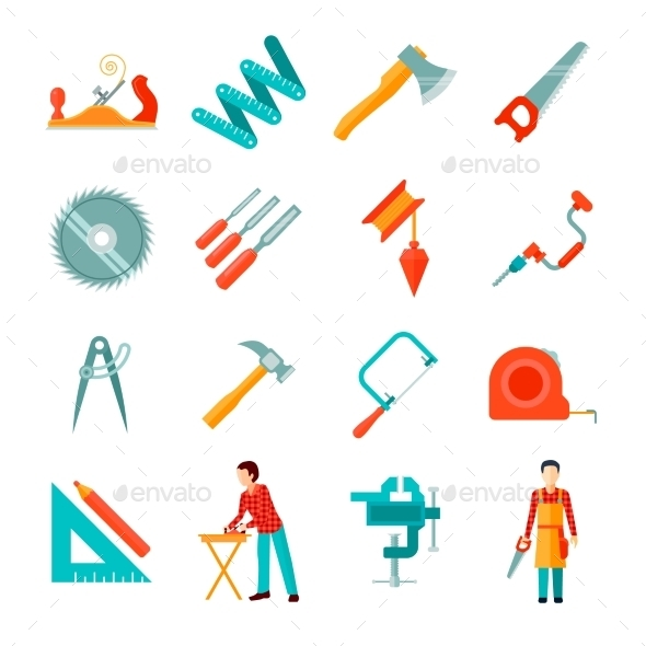Carpenter Icon Flat Set