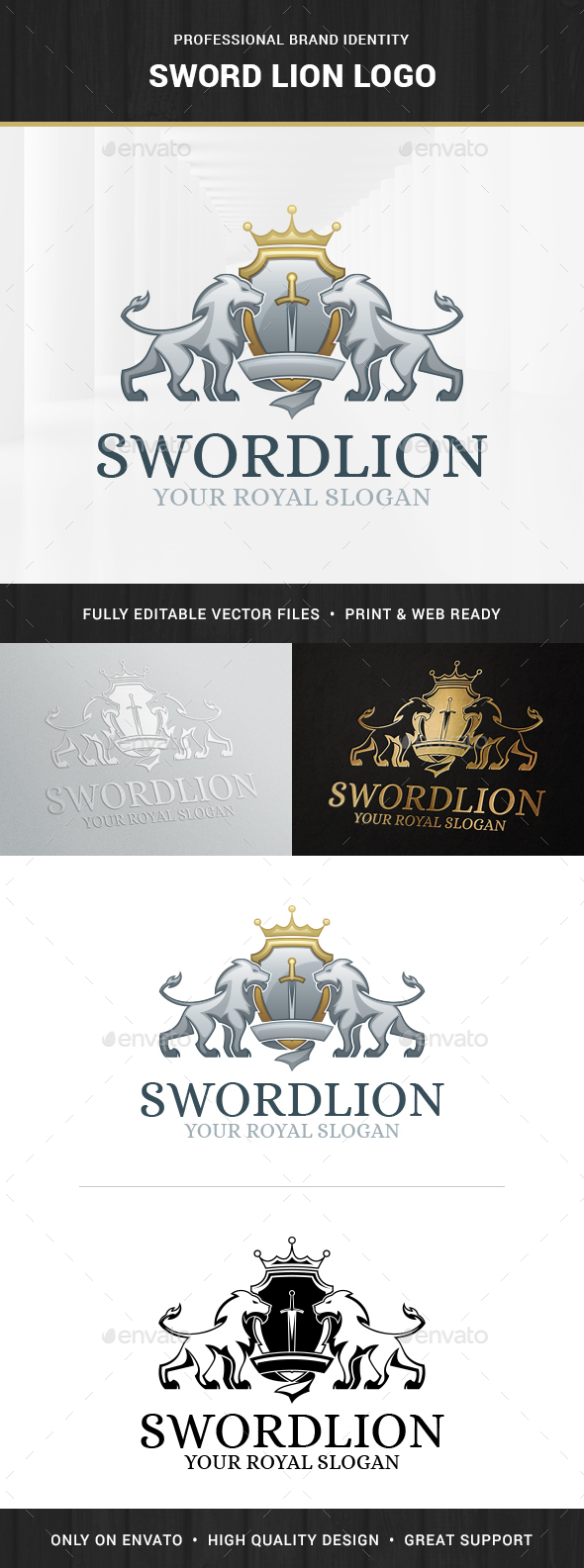 Sword Lion Logo Template