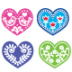 Folk Art Hearts with Flowers and Bird Icons Set - GraphicRiver Item for Sale