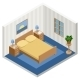 Interior of an Isometric Bedroom with Furniture - GraphicRiver Item for Sale