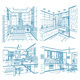 Bathroom and Kitchen Drawings Set  - GraphicRiver Item for Sale