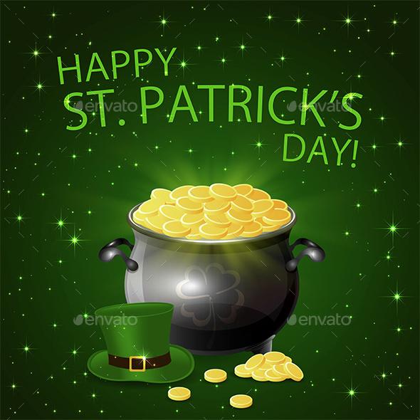 Patricks Day Background with Leprechaun Gold
