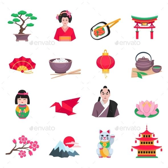Japanese Culture Symbols Flat Icons Set