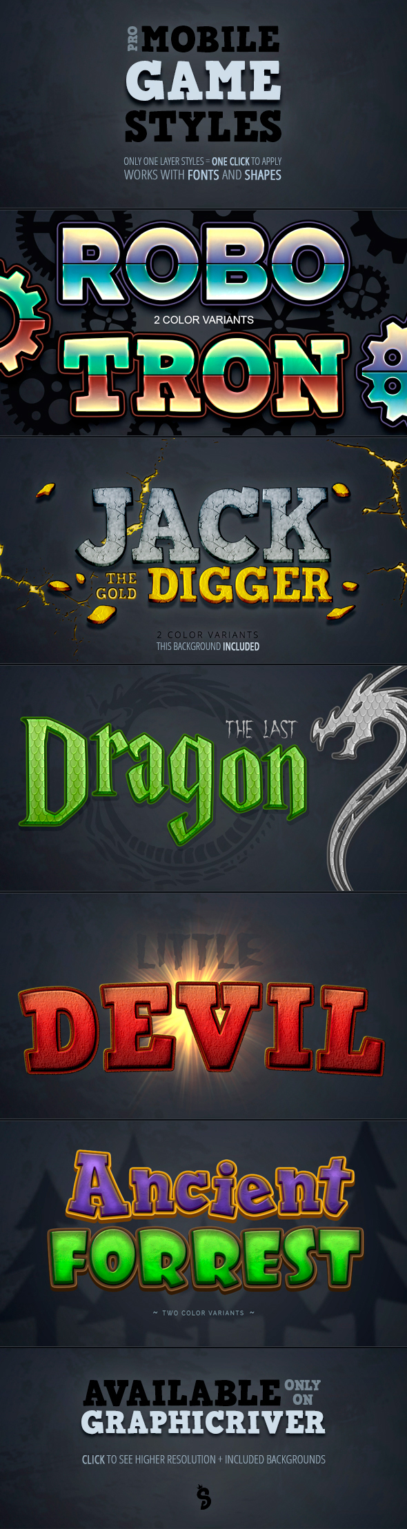 Mobile Game Photoshop Styles