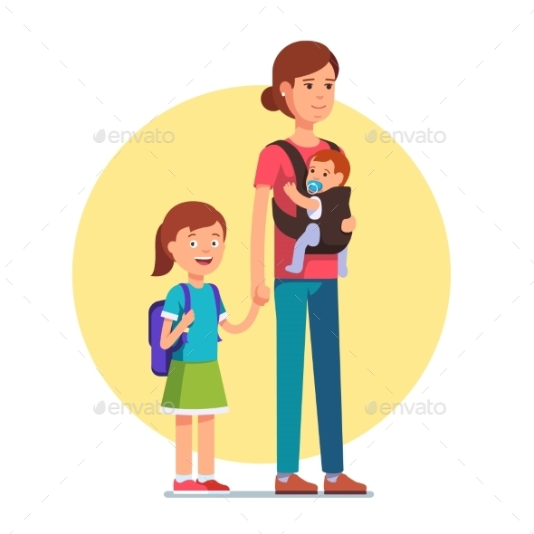 Mother with Daughter in School and Infant Baby Son