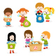 Kids Collecting Bottles for Recycle - GraphicRiver Item for Sale