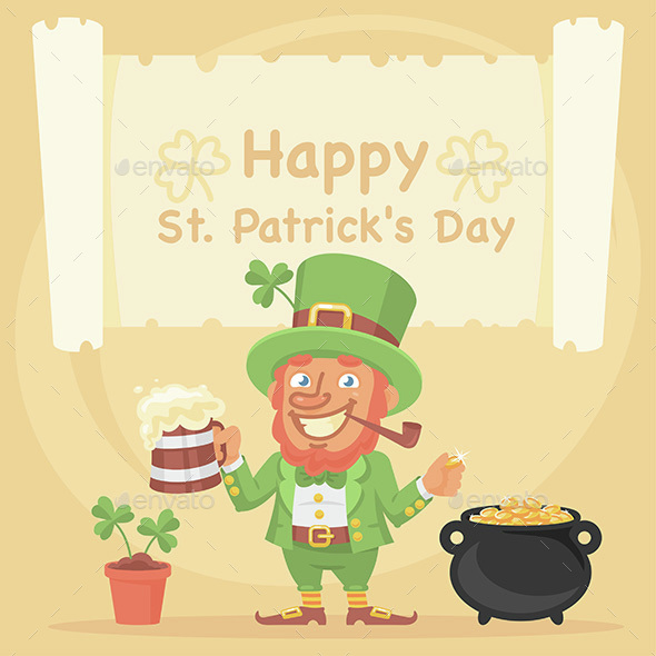 St. Patrick Holds Mug of Beer and Coin
