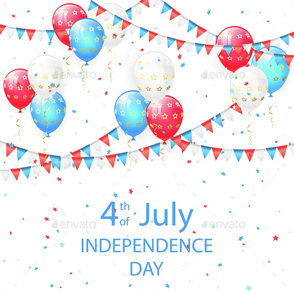 Balloons with Stars in Independence Day Background
