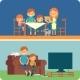 Family Inside Home Illustration - GraphicRiver Item for Sale