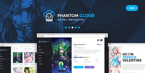 Phantom Cloud - Digital Artist Merchandising Shop PSD Template