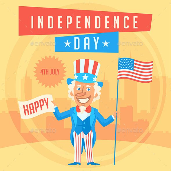 Concept Uncle Sam and Independence Day