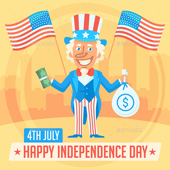 Concept Uncle Sam and Independence Day 2