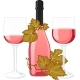 Rose Wine Bottle With Two Filled Glasses - GraphicRiver Item for Sale