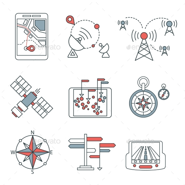 Different Navigation Icons Set With Rounded