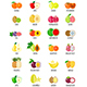 Set of Fruit Icons with their Name - GraphicRiver Item for Sale