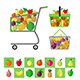 Shopping Cart and Shopping Baskets with Fruits - GraphicRiver Item for Sale