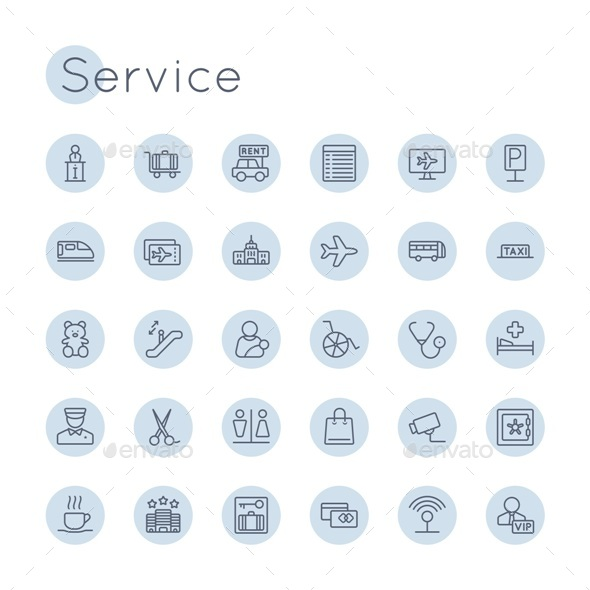 Vector Round Service Icons