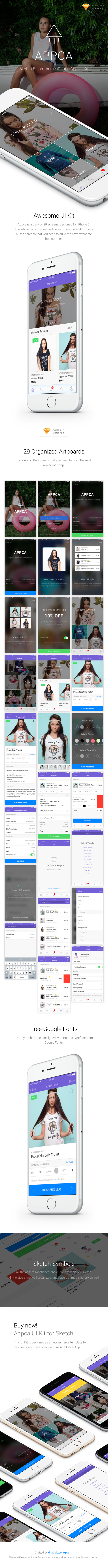 Appca - Ecommerce UI Kit for Sketch App