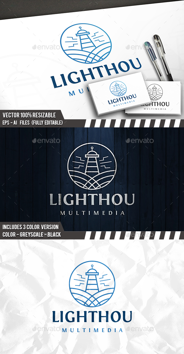 Lighthouse Emblem Logo
