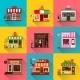 Set of Flat Shop Building Facades Icons - GraphicRiver Item for Sale