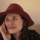Beautiful Young Woman In Hat Talking On Mobile Phone - VideoHive Item for Sale