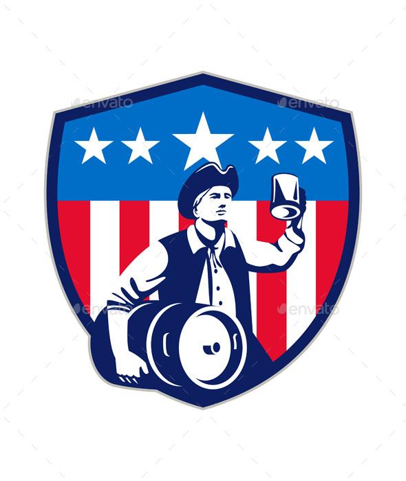 American Patriot Beer Keg Flag Crest Retro