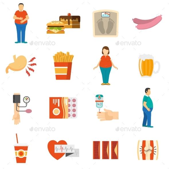 Obesity Problem Icons