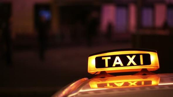 Illuminated Sighn Of Taxi Cab