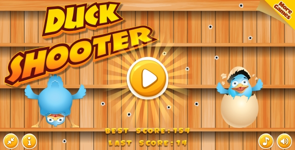 Duck Shooter - HTML5 Game, Mobile Version+AdMob!!! (Construct 3   Construct 2   Capx)