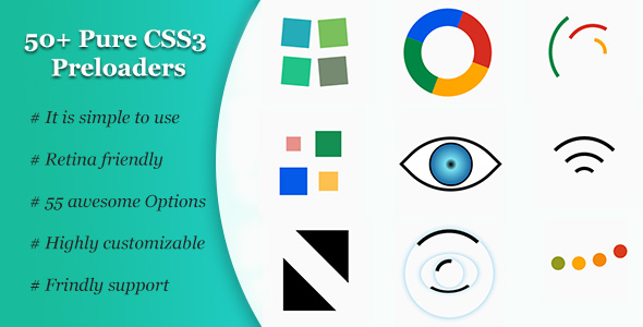50+ Pure CSS3 Preloaders