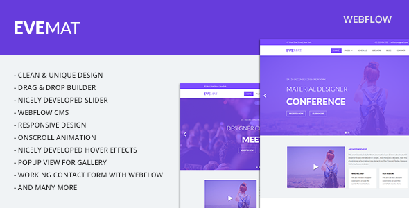 Evemat | Event Webflow Template