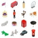 England Icons Set, Isometric 3d Style - GraphicRiver Item for Sale