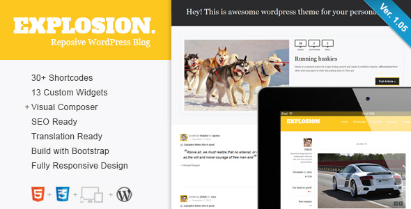 Explosion – Responsive WordPress Blog / Personal Free Download
