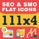 111x4 SEO & SMO Flat Icons - GraphicRiver Item for Sale