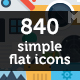 840 Simple Flat Icon Set - GraphicRiver Item for Sale