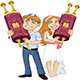 Jewish Boy and Girl Hold Torah for Bar and Bat Mitzvah - GraphicRiver Item for Sale