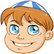 Jewish Boy Head with Blue and White Kippah - GraphicRiver Item for Sale