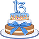 Blue Bar Mitzvah Cake for 13th Birthday - GraphicRiver Item for Sale