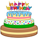 Three Floors Happy Birthday Cake with Candles - GraphicRiver Item for Sale