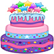 Three Floors Cake with Stars - GraphicRiver Item for Sale