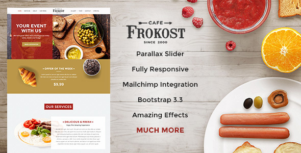 Frokost - Restaurant / Cafe One Page HTML5