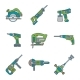 Color Outline House Remodel Power Tools Icons - GraphicRiver Item for Sale