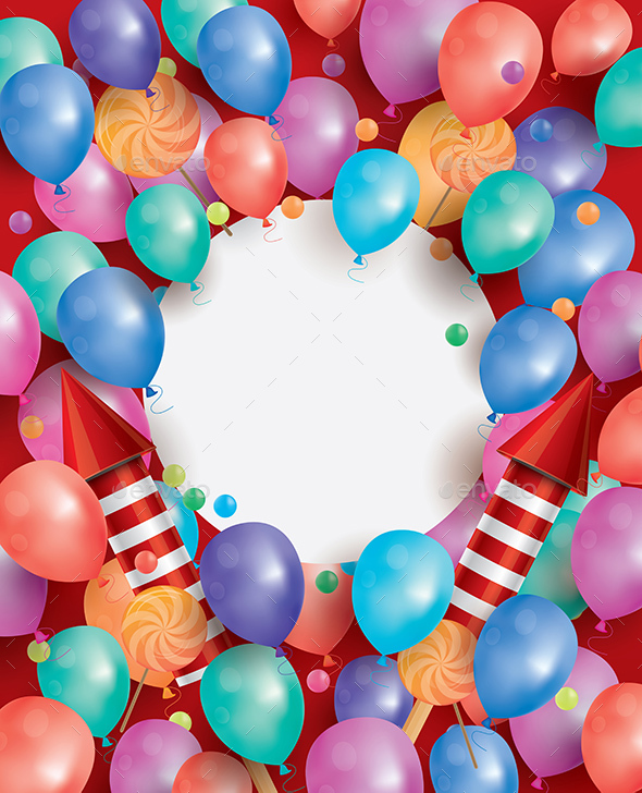 Happy Birthday Card with Flying Balloons