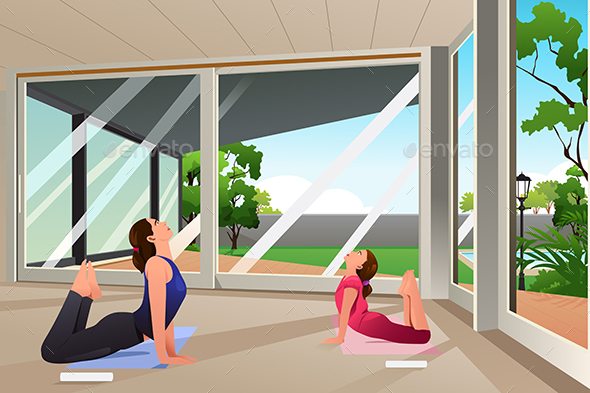 Mother Daughter Doing Yoga at Home