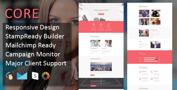 CORE - Multipurpose Responsive Email Template with online Stampready & Mailchimp Builders Access