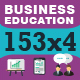 153x4 Icons for Business, Work and Education - GraphicRiver Item for Sale