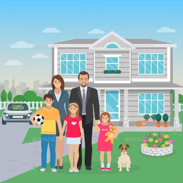 Family Members Flat Illustration