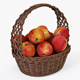 Wicker Basket 04 (Brown Color) with Apples - 3DOcean Item for Sale
