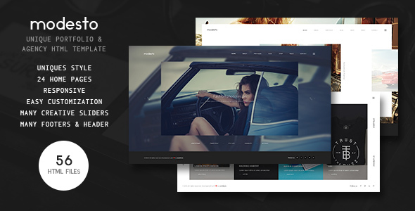 Modesto - Power Unique Portfolio, Photography & Agency HTML Template