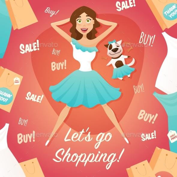 Shopping Girl Sale Advertisement Flat Poster